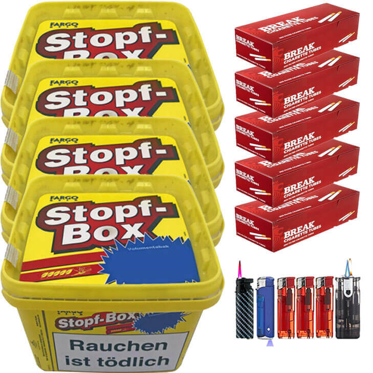 Fargo Stopf-Box 4 x 185g Volumentabak 1000 Filterhülsen Uvm.