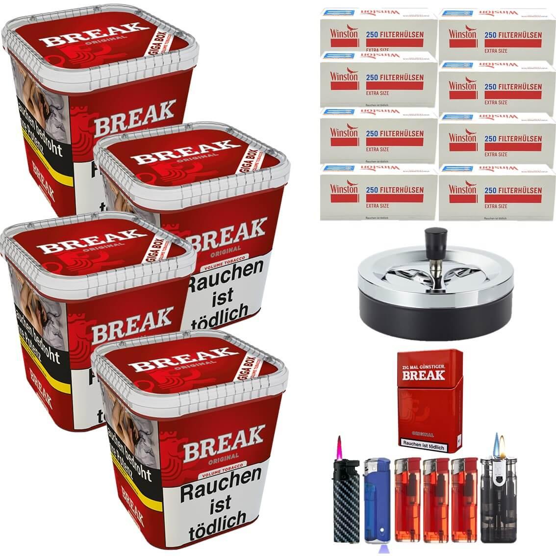Break Original 4 x 240g Volumentabak 2000 Extra Size Filterhülsen Uvm.