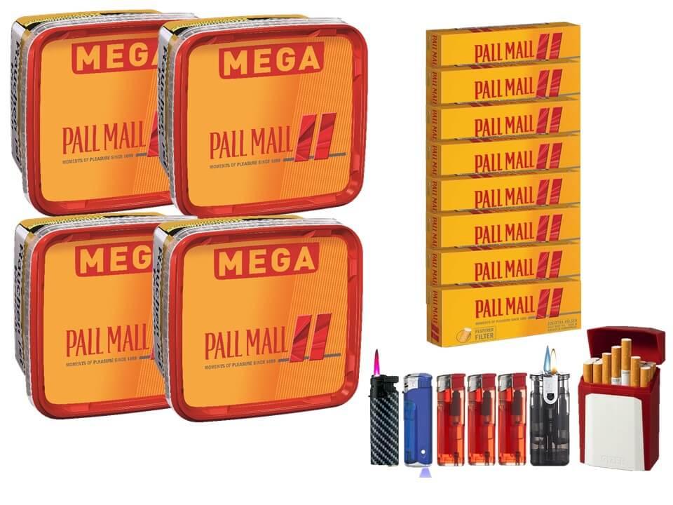 Pall Mall Mega Box 4 x 170g Volumentabak 1600 Filterhülsen Uvm.