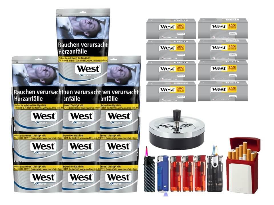 West Silver 10 x 105g mit 2000 Silver Extra Size Hülsen