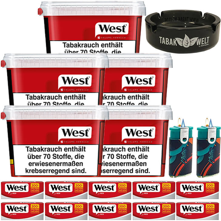 West Red 5 x 170g mit 2000 King Size Hülsen