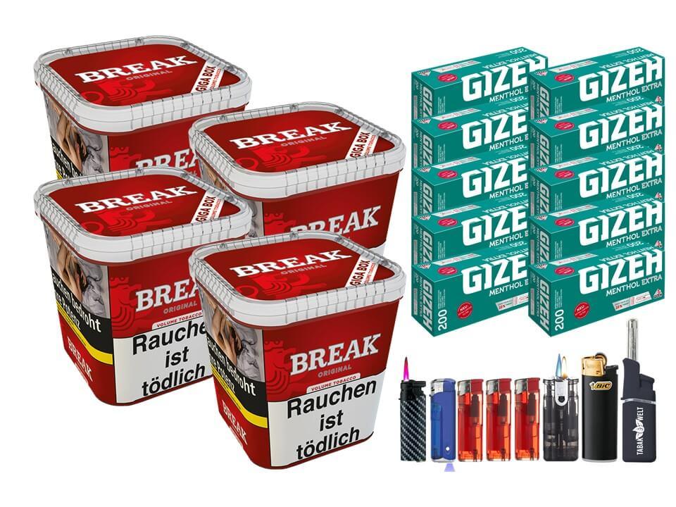 Break Original 4 x 240g Volumentabak 2000 Gizeh Menthol Extra Filterhülsen Uvm.