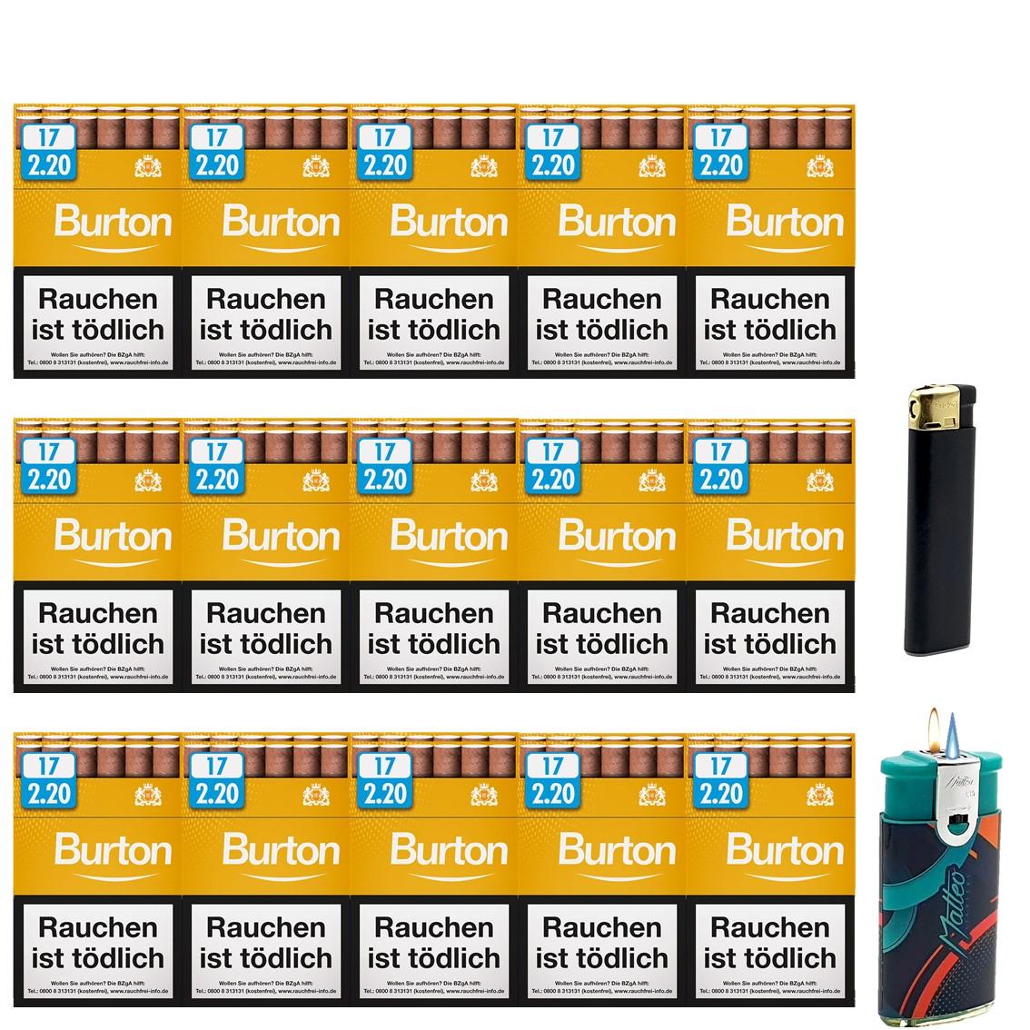 Burton Vanilla / Gold Zigarillos mit Filter (3 Stangen) 30 x 17 Stück