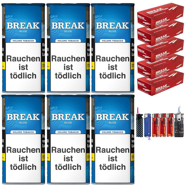 Break Blue / Blau 6 x 120g Volumentabak 1000 Break Filterhülsen Uvm.