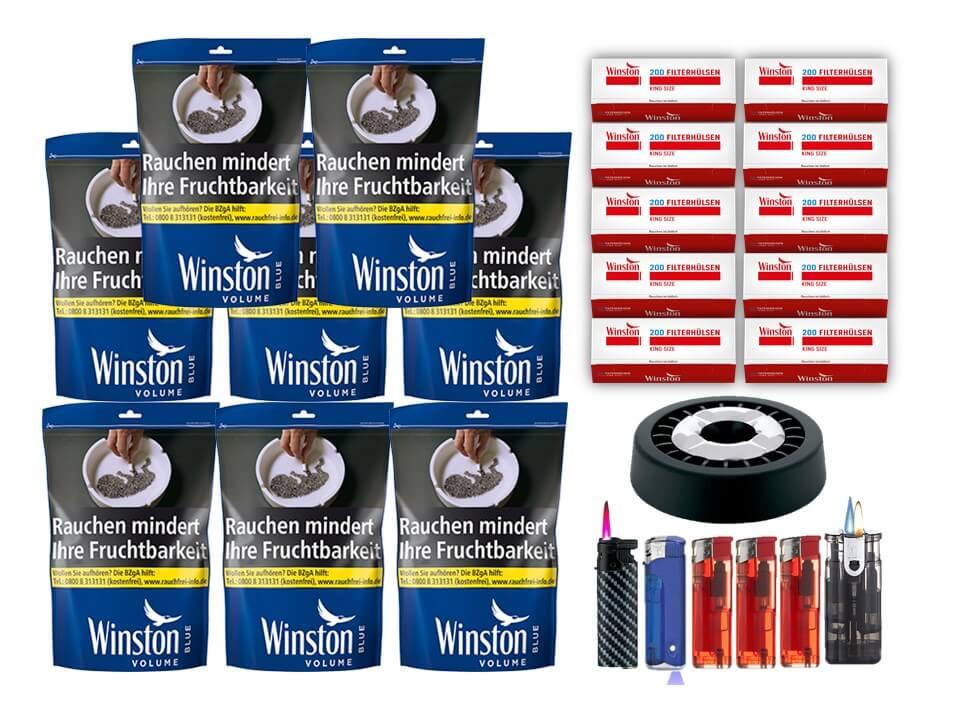 Winston Blue 8 x 135g Volumentabak Beutel 2000 Winston Filterhülsen Uvm.