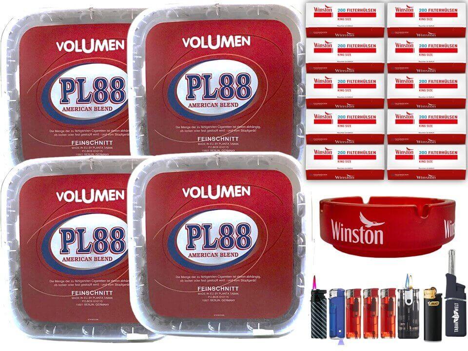 PL88 Red 4 x 400g Volumentabak 2000 King Size Filterhülsen Uvm.