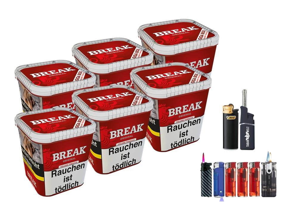 Break Original 6 x 240g Volumentabak Feuerzeug Set