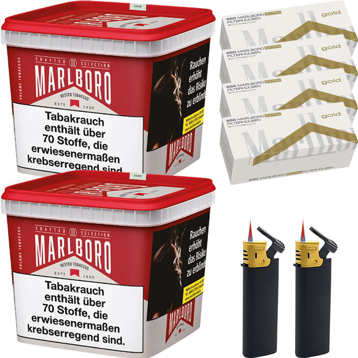Marlboro Crafted Selection 2 x 270g mit 1000 Extra Size Hülsen