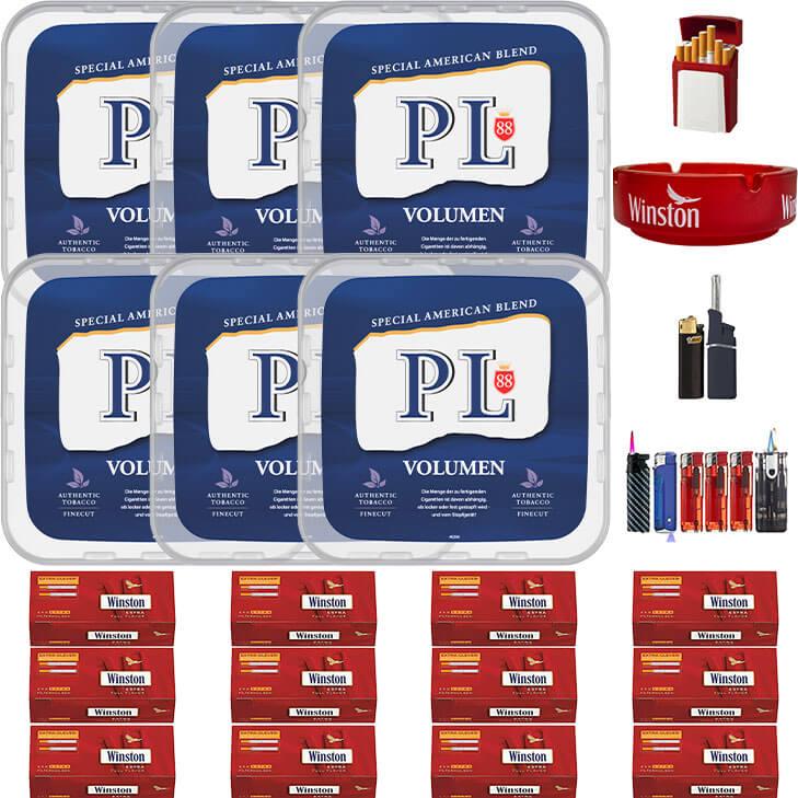 PL88 Blue / Blau 6 x 400g Volumentabak 3000 Extra Size Filterhülsen Uvm.