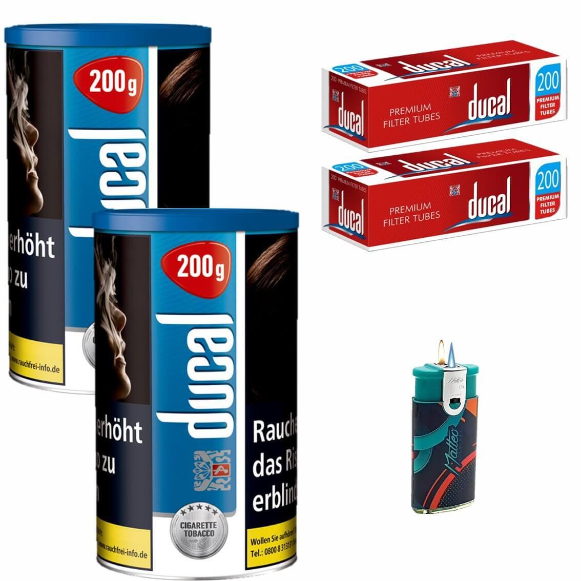 Ducal Blue / Blau 2 x 200g Feinschnitt / Zigarettentabak 400 King Size Filterhülsen Uvm.