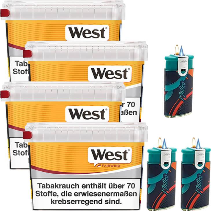 West Yellow Fairwind 4 x 215g mit Duo Feuerzeugen