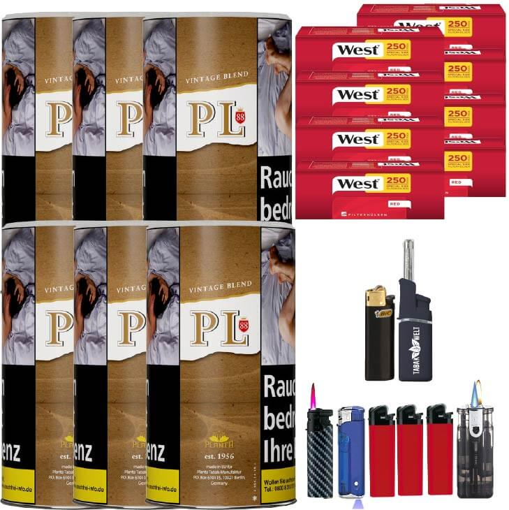 PL88 Authentic ohne Zusatzstoffe Just Tabak 6 x 200g Feinschnitt 2000 Filterthülsen Uvm.