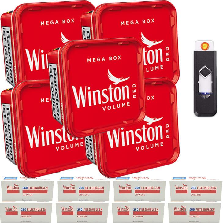 Winston Mega Box 5 x 170g Volumentabak 2000 Extra Size Filterhülsen Feuerzeug