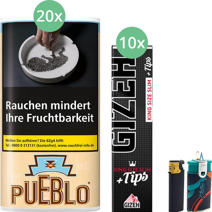Pueblo Classic 20 x 30g mit Gizeh Black Filter King Size Slim + Tips