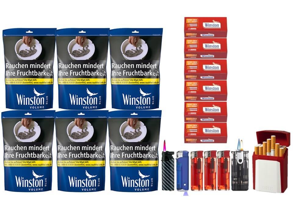 Winston Blue 6 x 135g Volumentabak Beutel 1500 Winston Extra Filterhülsen Uvm.