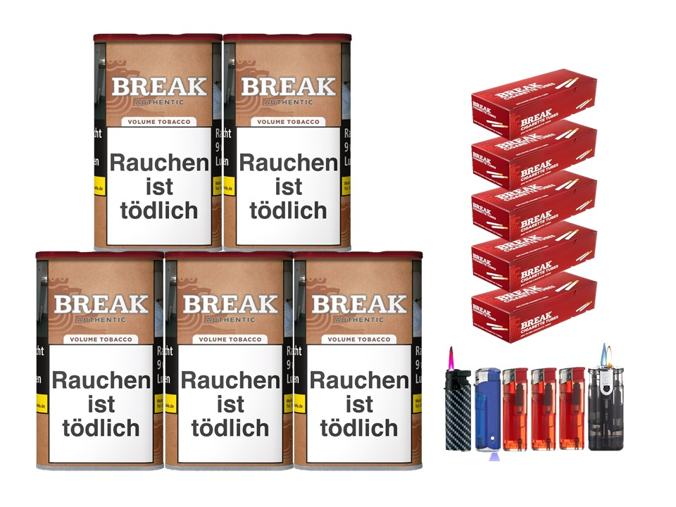 Break Authentic 5 x 75g Volumentabak 1000 Break Filterhülsen Uvm.