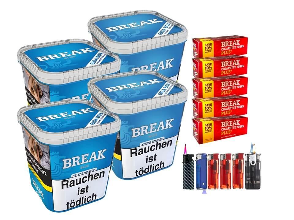 Break Blue / Blau 4 x 240g Volumentabak 1000 Break Xtra Plus Filterhülsen Uvm.
