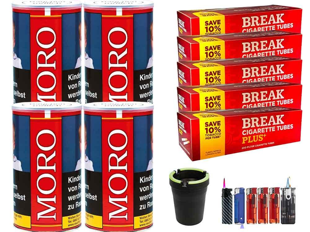 Moro Rot 4 x 200g Feinschnitt-Tabak 1000 Filterhülsen Uvm.