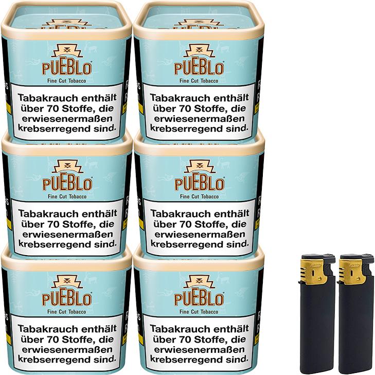 Pueblo Blue 6 x 100g mit Feuerzeug