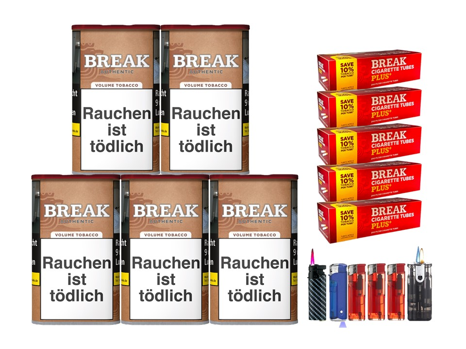 Break Authentic 5 x 75g Volumentabak 1000 Break Xtra Plus Filterhülsen Uvm.
