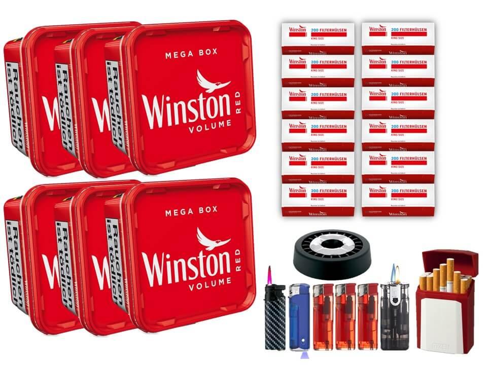 Winston Mega Box 6 x 170g Volumentabak 2400 Winston Filterhülsen Uvm.