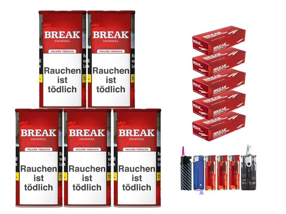 Break Original 5 x 120g Volumentabak 1000 Break Filterhülsen Uvm.