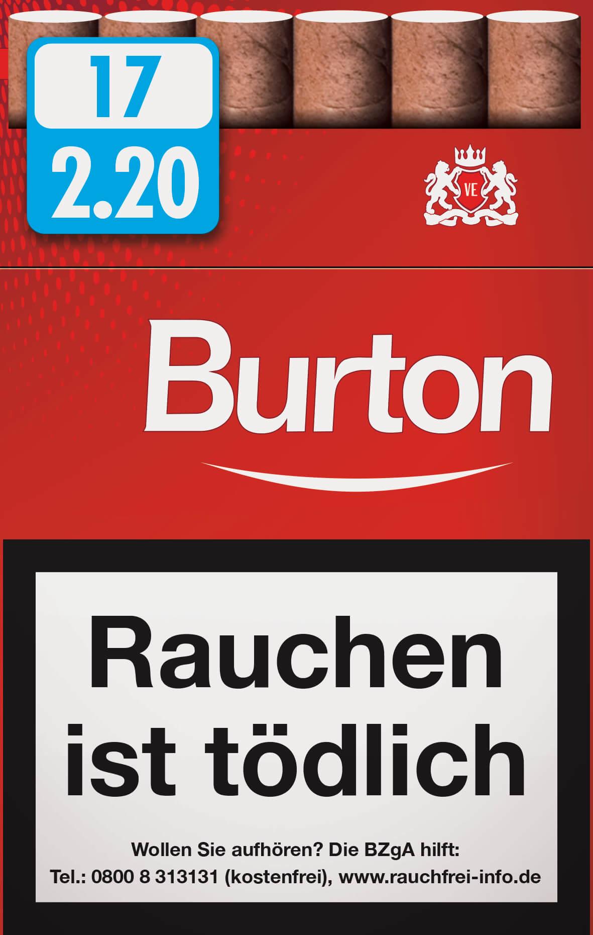 Burton Original Zigarillos mit Filter (6 Stangen) 60 x 17 Stück