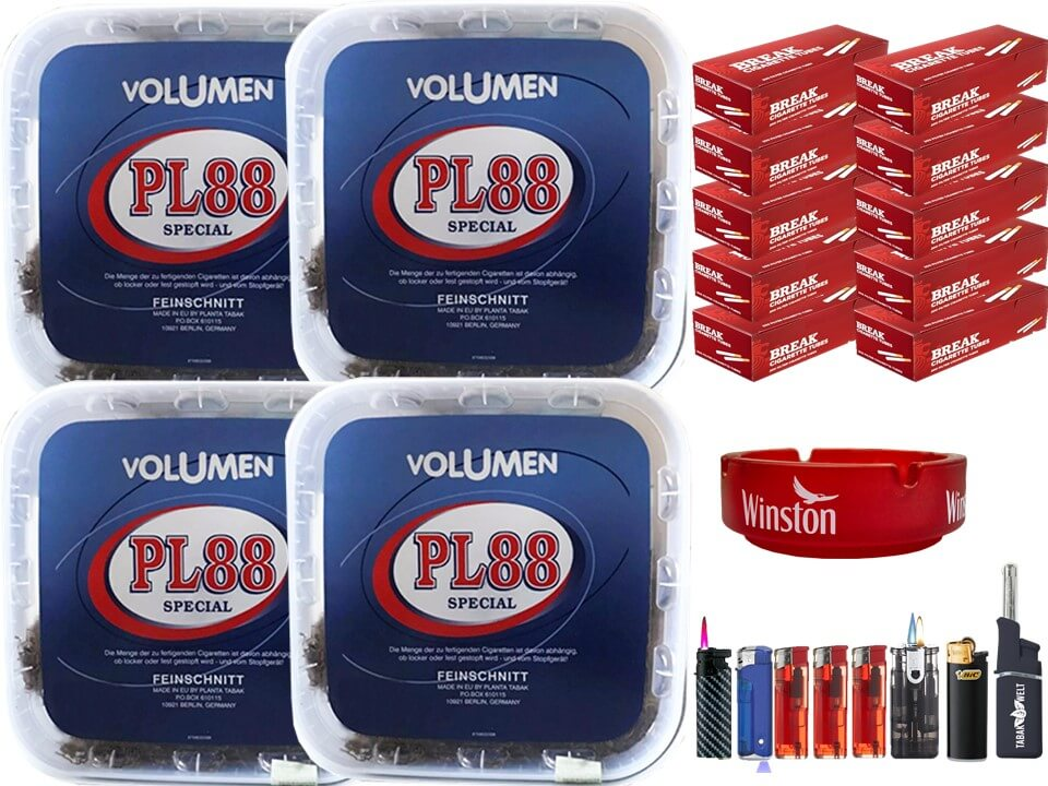 PL88 Blau 4 x 400g Volumentabak 2000 Filterhülsen Uvm.