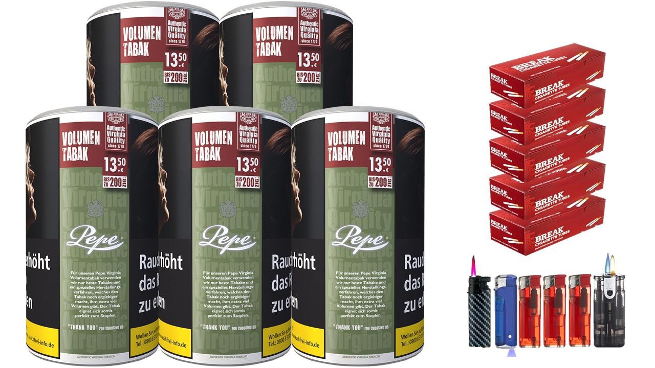 Pepe Rich Green 5 x 85g Volumentabak 1000 Filterhülsen Uvm.