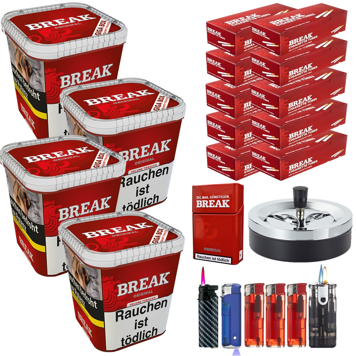 Break Original 4 x 240g Volumentabak 2000 Filterhülsen Uvm.