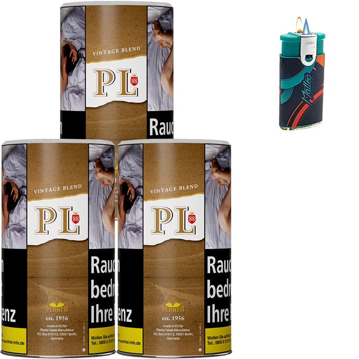PL88 Authentic ohne Zusatzstoffe Just Tabak 3 x 200g Feinschnitt Duo Feuerzeug mit-2-Flammen