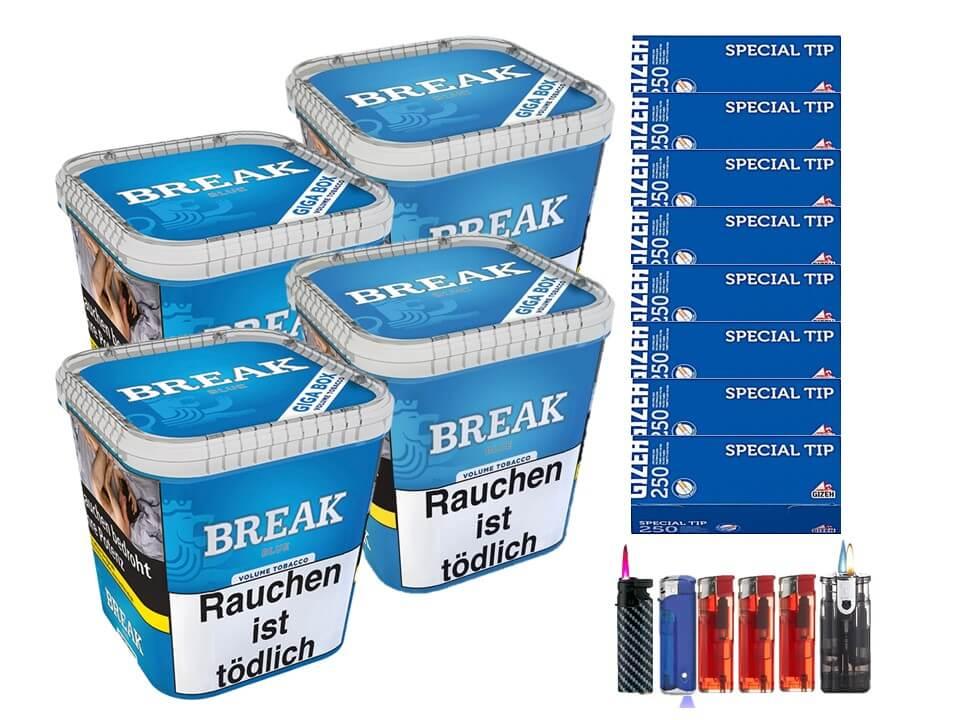 Break Blue / Blau 4 x 240g Volumentabak 2000 Filterhülsen Uvm.