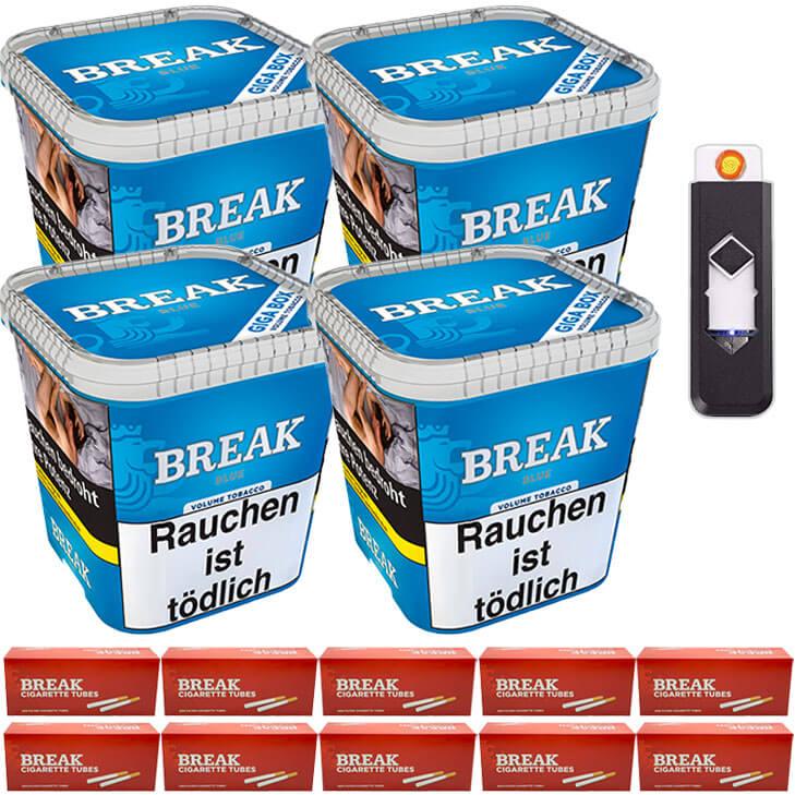 Break Blue / Blau 4 x 240g Volumentabak King Size Filterhülsen USB-Feuerzeug