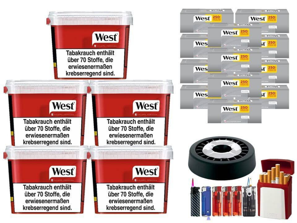 West Red 5 x 300g Volumentabak 3000 West Silver Special Size Filterhülsen Uvm.