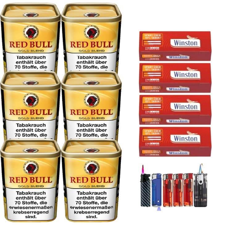 Red Bull Gold Blend 6 x 120g Feinschnitt 1000 Extra Size Filterhülsen Uvm.