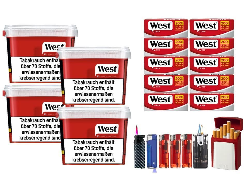 West Red 4 x 170g Volumentabak 2000 West Red Filterhülsen Uvm.