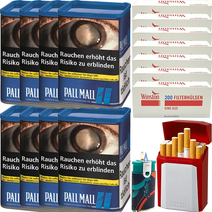 Pall Mall Blue 8 x 60g mit 1400 King Size Hülsen