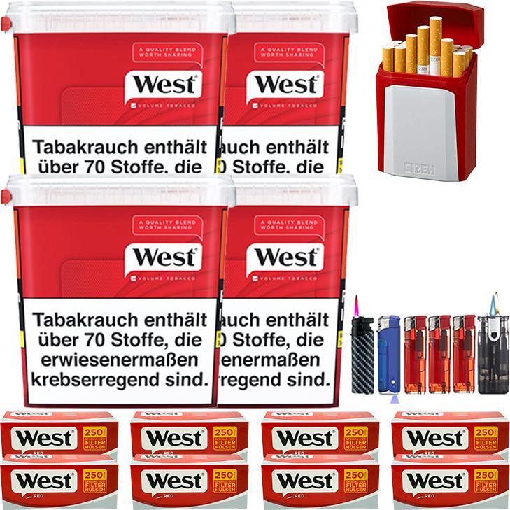 West Red 4 x 280g Volumentabak 2000 West Red Extra Filterhülsen Uvm.