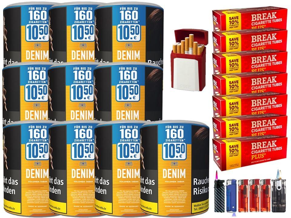Denim XL 10 x 65g Volumentabak 1400 Filterhülsen Uvm.