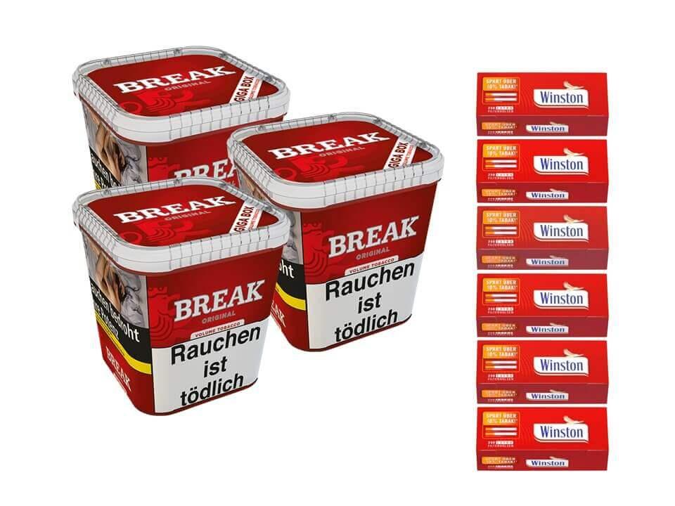 Break Original 3 x 240g Volumentabak 1500 Extra SIze Filterhülsen