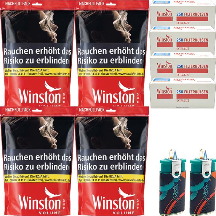 Winston Red 4 x 135g mit 1000 Special Size Hülsen