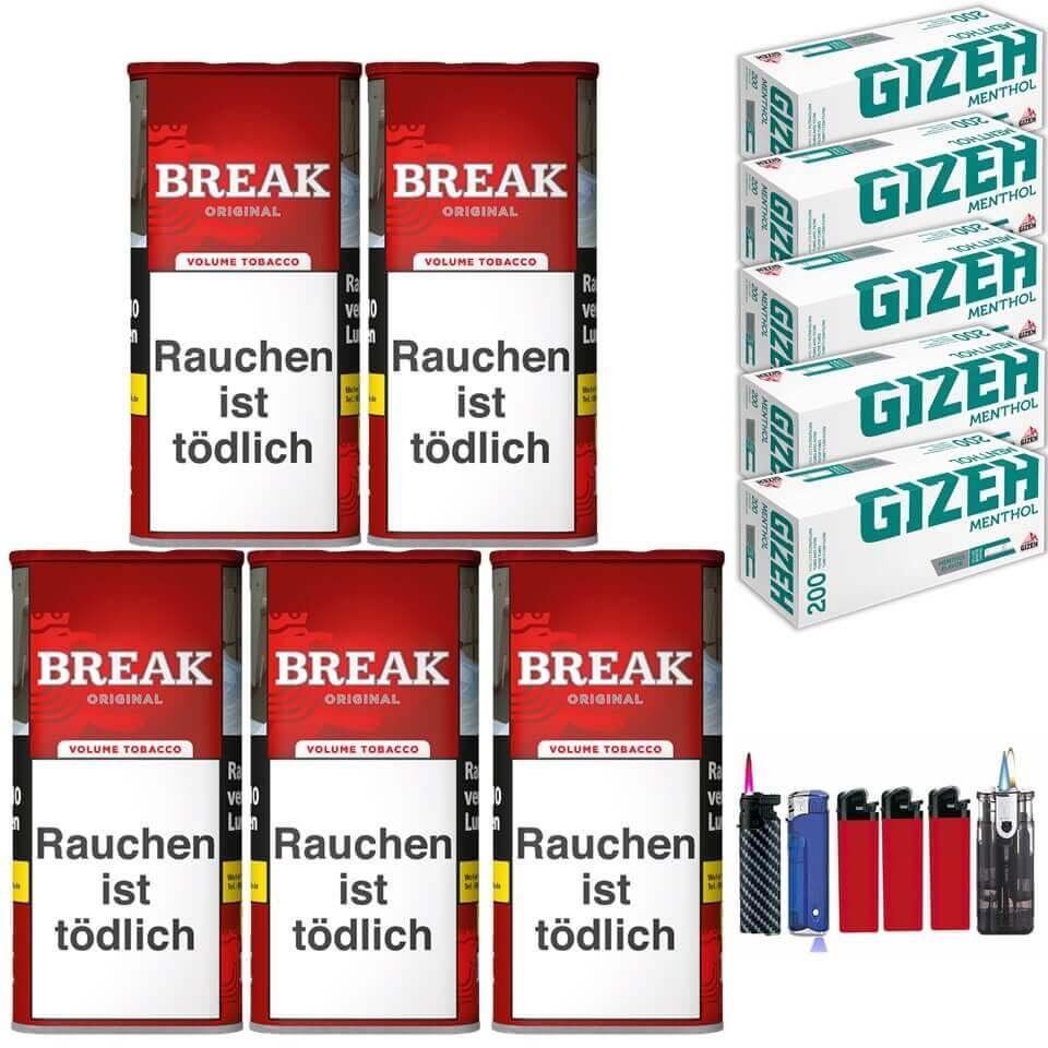 Break Orginal 5 x 120g Volumentabak 1000 Gizeh Menthol Filterhülsen Uvm.