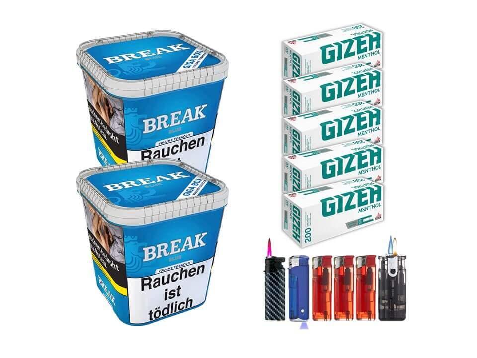 Break Blue / Blau 2 x 230g Volumentabak 1000 Gizeh Menthol Filterhülsen Uvm.
