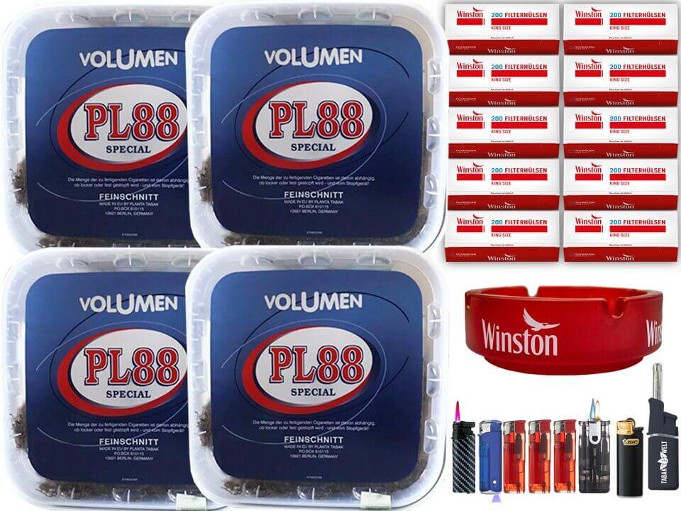 PL88 Blau 4 x 400g Volumentabak 2000 King Size Filterhülsen Uvm.