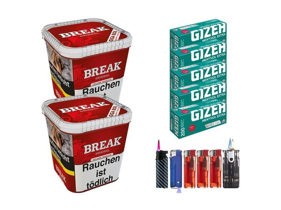 Break Original 2 x 240g Volumentabak 1000 Gizeh Menthol Extra Filterhülsen Uvm.