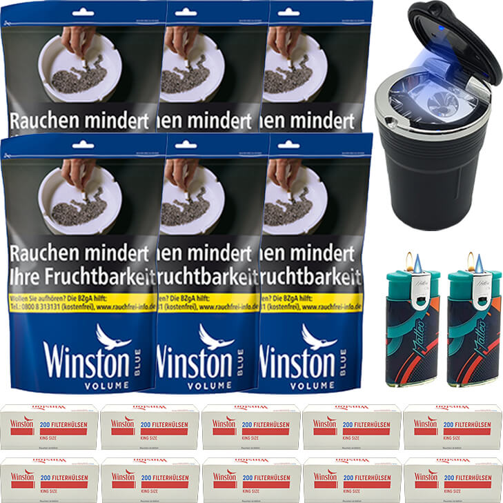 Winston Blue 6 x 135g mit 2000 King Size Hülsen