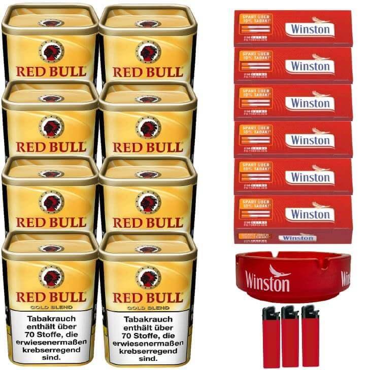 Red Bull Gold Blend 8 x 120g Feinschnitt 1500 Extra Size Filterhülsen Uvm.