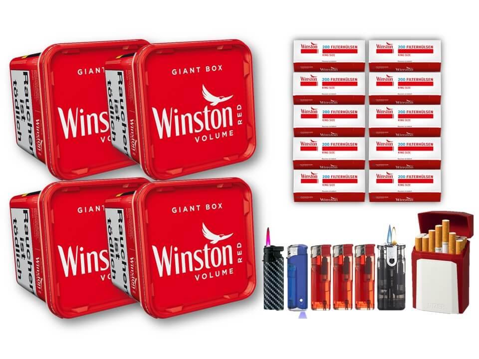 Winston Giant Box 4 x 280g Volumentabak 2000 Winston Filterhülsen Uvm.