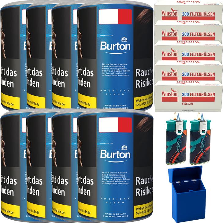 Burton Blue / Blau 8 x 120g mit 1000 King Size Hülsen