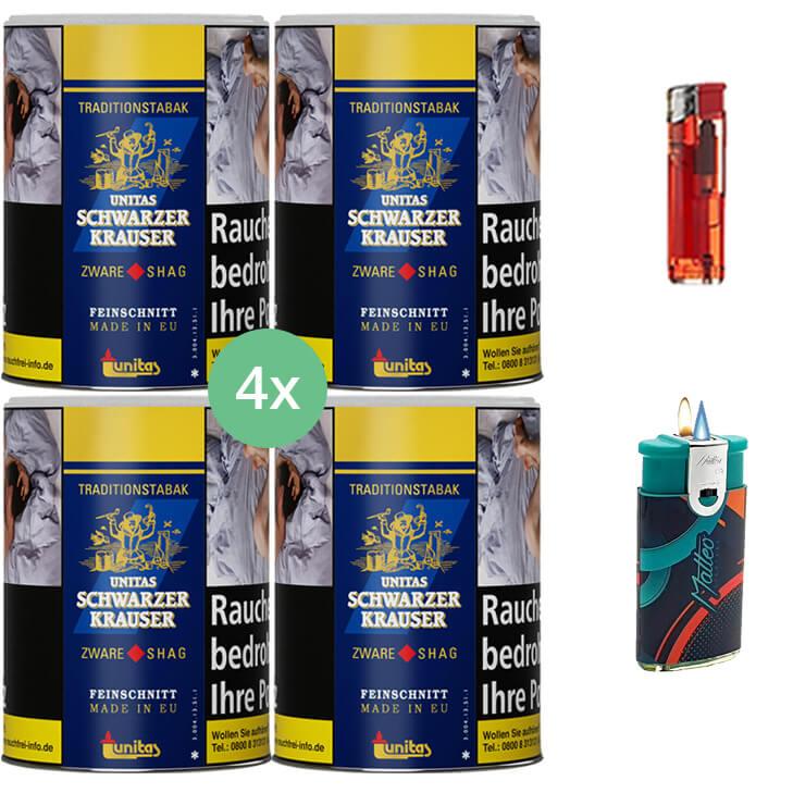 Schwarzer Krauser Zware Shag 4 x 125g Zigarettentabak Duo Feuerzeug mit 2 Flammen Feuerzeug